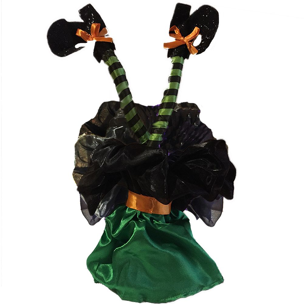 Halloween Animated Kicking Witch Legs-Sound Activated 16 inch - Green