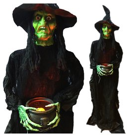 Darice Halloween Standing Sound n Light Animated Witch w Caldron 60 inch