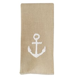 Mud Pie Natural Linen Hand Towel w French Knot Design 4405158A Anchor