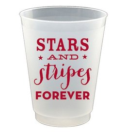 Slant Plastic Flex Cups 16oz 8pk F132169 Stars and Stripes Forever