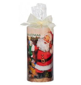 Kurt Adler Merry Christmas Candle w Image Santa w Stocking 6in T1738-B Kurt Adler