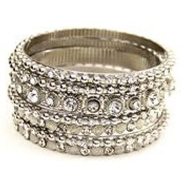 Jacqueline Kent Jewelry Silver w Clear Crystal Bangle Bracelet Set