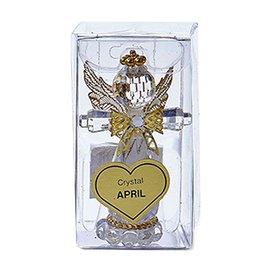 Kurt Adler Acrylic Birthstone Angel Ornament APRIL Crystal