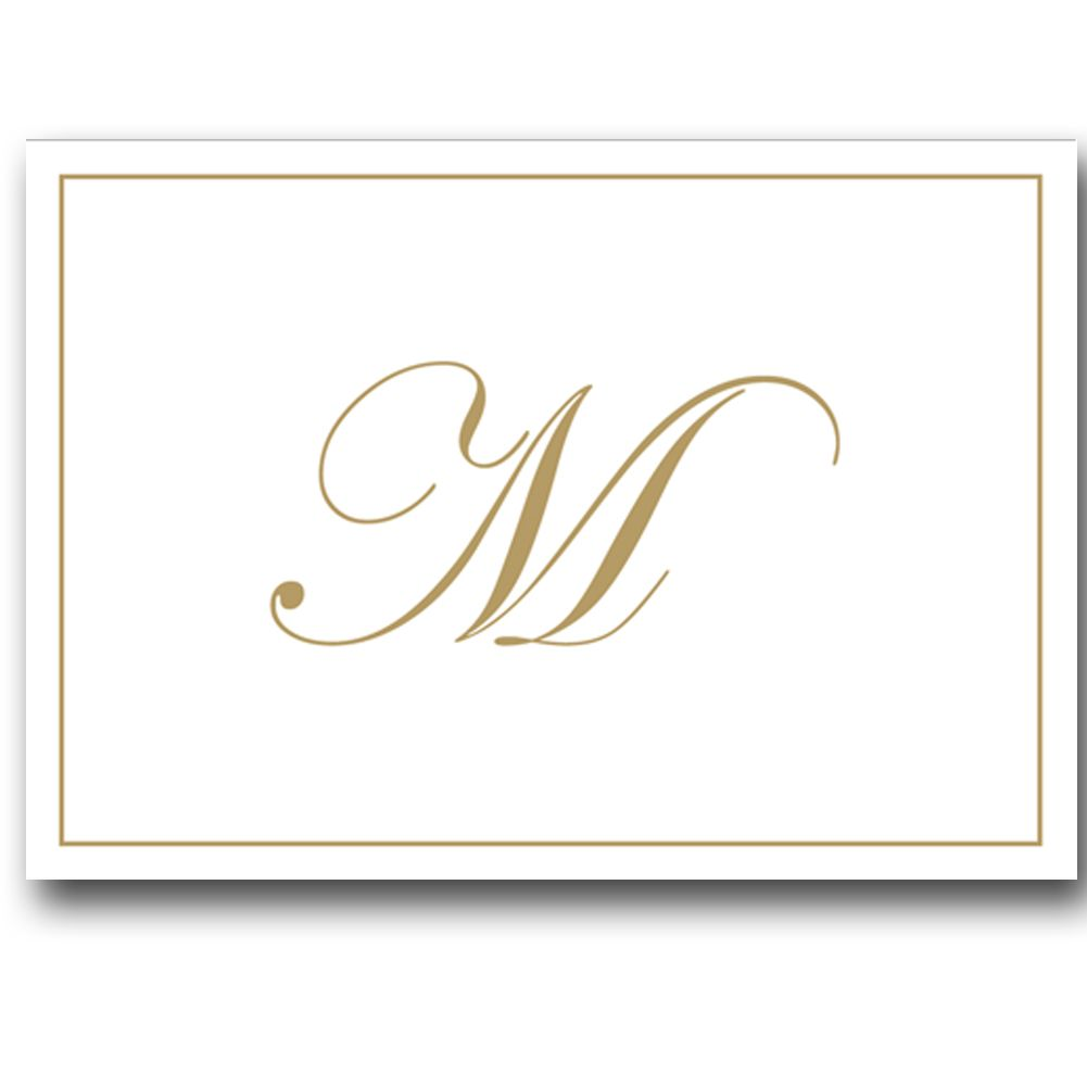 Gold Embossed Initial Note Cards Letter M Boxed Set of 8   Digs N