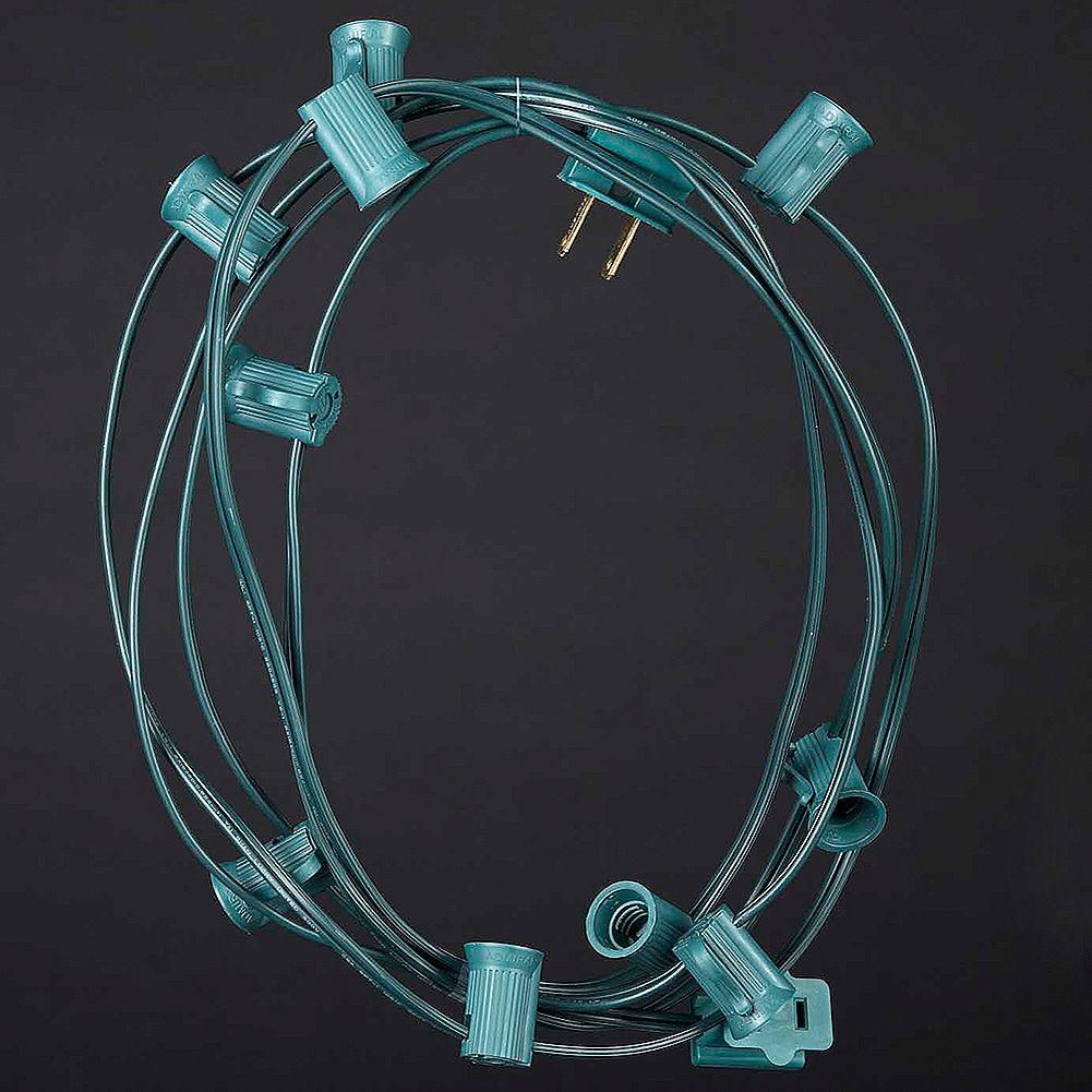 Kurt Adler C9 Light String 10 Blank Sockets w Plugs Green Corded