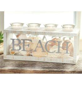Mud Pie BEACH 4 Votive and Sea Shells Display Candle Box