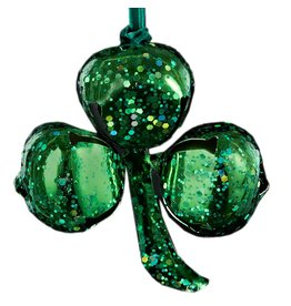 Kurt Adler Irish Christmas Ornament Green Glittered Shamrock Bell Ornament