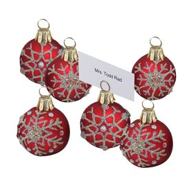 Kurt Adler Christmas Place Card Holders 6pc Red Ornaments w Snowflakes