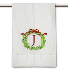 Peking Handicraft Monogramed Christmas Wreath Guest Towel Embroidered Letter J
