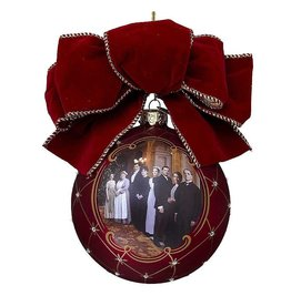 Kurt Adler Downton Abbey Glass Family Ball w Bow Christmas Ornament DA4132