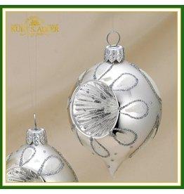 Kurt Adler Christmas Ornaments GR0160-C Oval Blown Glass Reflectors Set