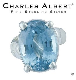 Charles Albert Jewelry R1053 Blue Topaz Prong Set Adjustable Ring