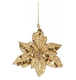 Winward Gold Mosiac Poinsettia 10 inch Christmas Ornament