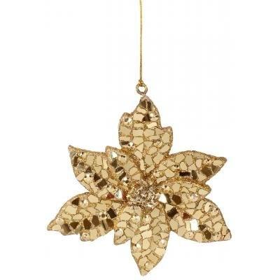 Christmas Ornaments Gold Mosiac Poinsettia Ornament