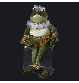 Kurt Adler Plush Sitting Frog Princess in Gold Dress 16 inch