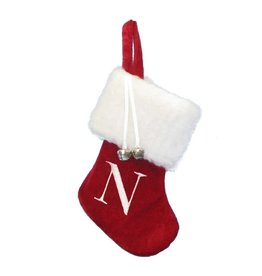 Kurt Adler Mini Red Monogrammed Christmas Stocking w Initial Letter N