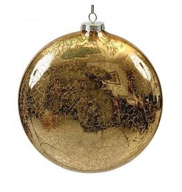 Winward Christmas Ornament Mercury Glass Disk Shape Gold