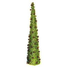 North Star Premier Premier Holiday Decor Green Beaded Cone Tree w Balls 36H Inch