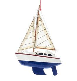 Kurt Adler Wooden Yacht-Sailboat Christmas Ornament BLUE Hull