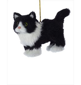 Kurt Adler Christmas Ornament Plush Cat Black and White 4 inch