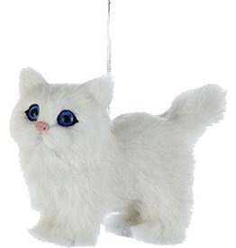 Kurt Adler Christmas Ornament Plush Cat White 4 inch