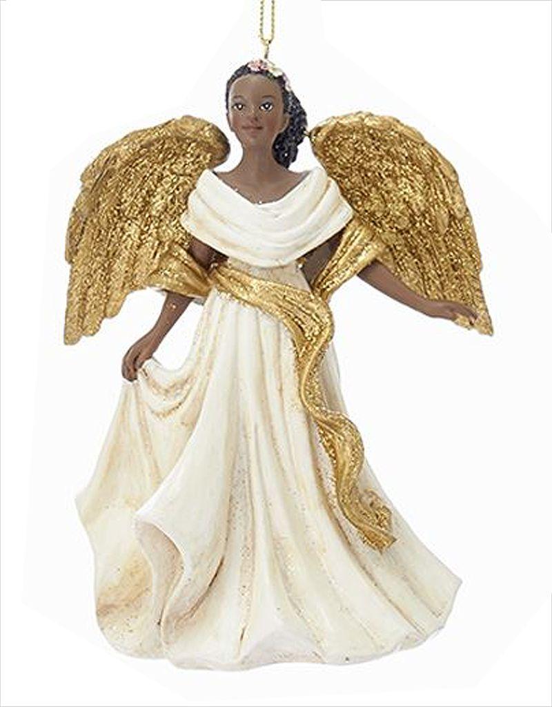 African American Black Angel Ornament -C