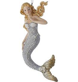 Kurt Adler Mermaid Christmas Ornament Silver w Gold Tail C6794-A