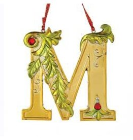 Kurt Adler Gold Initial Ornament w Holly on Red Ribbon Hanger Letter M