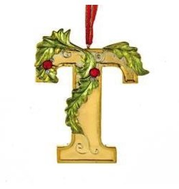 Kurt Adler Gold Initial Ornament w Holly on Red Ribbon Hanger Letter T