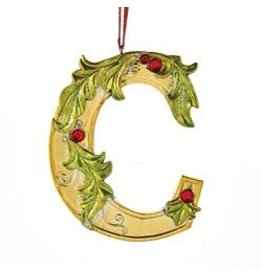 Kurt Adler Gold Initial Ornament w Holly on Red Ribbon Hanger Letter C