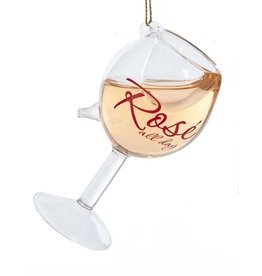 Kurt Adler Rose All Day Wine Glass Ornament  4.6 inch