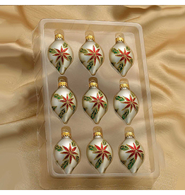 Kurt Adler Minature Glass Drop Ornaments 35MM Set of 9 White Red Green