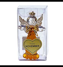 Kurt Adler Acrylic Birthstone Angel Ornament NOVEMBER Topaz