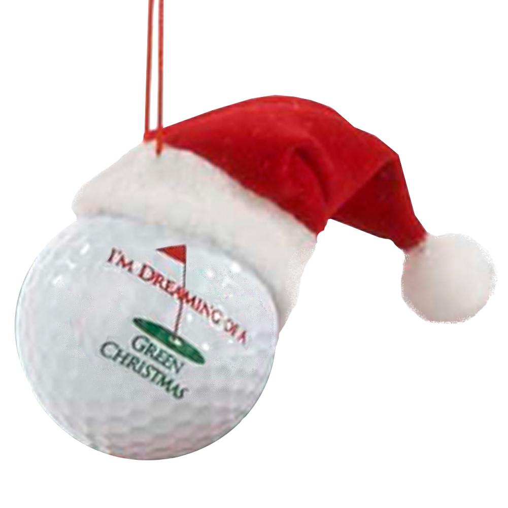 Kurt Adler Golf Ball Ornament Santa Hat Dreaming Of A Green Christmas