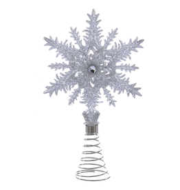 Kurt Adler Christmas Tree Topper Glittered Silver Snowflake w Gem