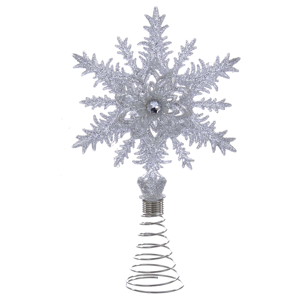 Christmas Tree Topper.Kurt Adler Christmas Tree Topper Glittered Silver Snowflake W Gem