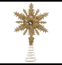 Kurt Adler Christmas Tree Topper Glittered Gold Snowflake w Gem