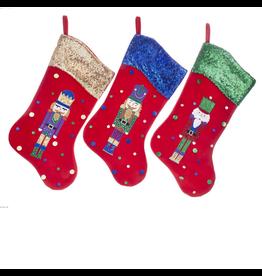 Kurt Adler Velvet Nutcracker Christmas Stockings Set of 3 Assorted