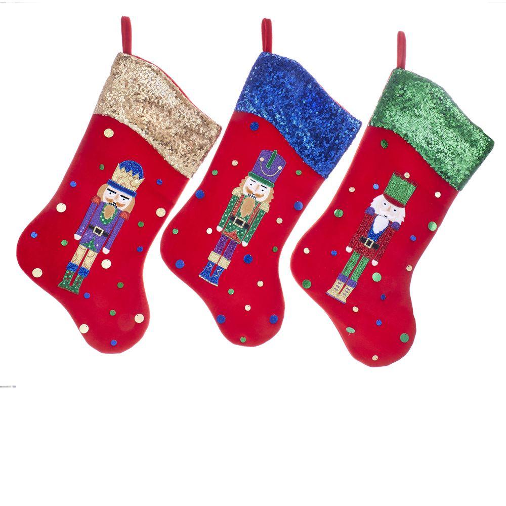 Red Velvet Christmas Stockings.Kurt Adler Velvet Nutcracker Christmas Stockings Set Of 3 Assorted