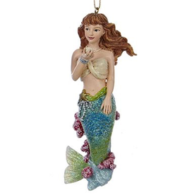 Kurt Adler Mermaid Christmas Ornament 4 inch - C Green