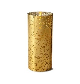 Luminara Flameless Candle Gold Mercury Glass Pillar Cylinder 8 inch