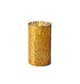 Luminara Flameless Candle Gold Mercury Glass Pillar Cylinder 6 inch