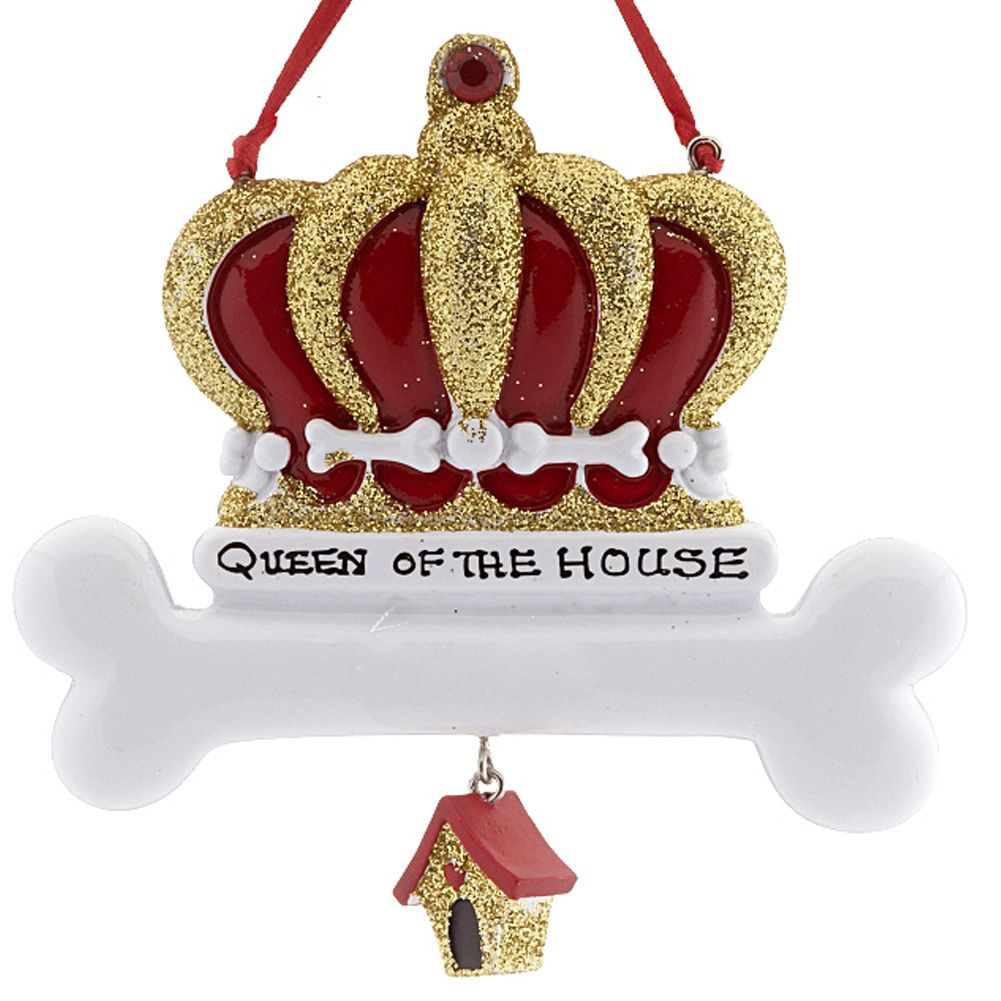 Crown Christmas Ornaments.Christmas Ornaments Pets Dog Crown W Bone W Queen Of The House
