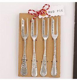 Mud Pie Holiday Cocktail Fork 4pc Set  5.5 inch 4041012