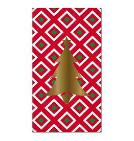 Slant Christmas Paper Guest Towels 16pk-Foil Christmas Tree