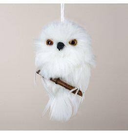Kurt Adler Christmas Ornament White Owl On Branch Hanging Ornament
