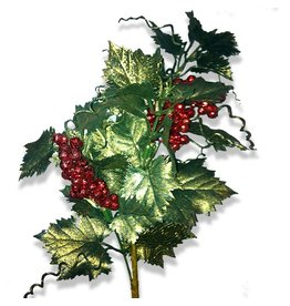 Premier Christmas Flowers Floral Red Berry w Glittered Ivy Leaves