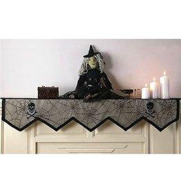 Peking Handicraft Halloween Mantel Cover Skulls w Spider Webs 86 inch
