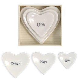East of India Porcelain 3pc Heart Dish Keepsake Love Hope Dream