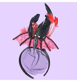 Kurt Adler Halloween Hat Headband Bat W Black And Red Feathers